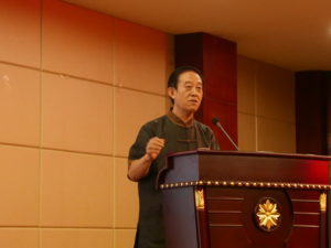 Grandmaster Chen Zhenglei lectured disciples during the 3rd Annual Symposium.